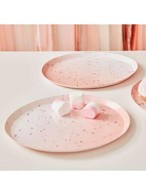 Isot vaaleanpunaiset lautaset ruusukultaisella kimalluksella, 8 kpl.