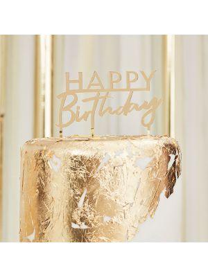 Kultainen kakkukoriste, Happy Birthday, Akryyli