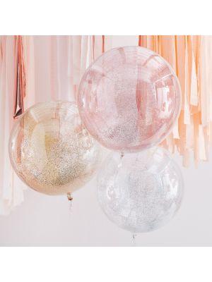 Isot Pyöreät Konfetti-ilmapallot - Metallic-glitter, 55cm, 3kpl