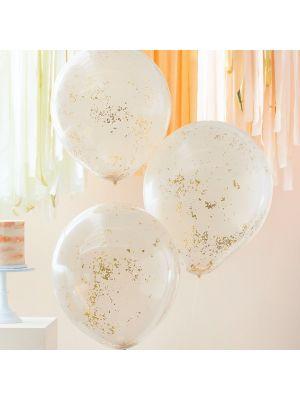 kaksikerroksiset persikanväriset ilmapallot, kultakonfetilla,3 kpl