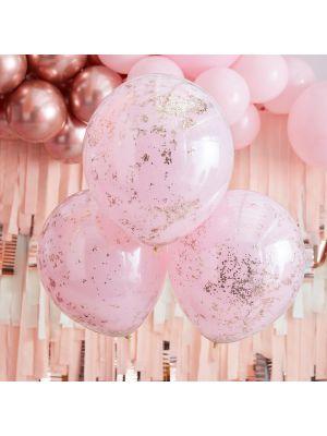 Vaaleanpunaiset Tupla-kerroksiset Ruusukulta Konfetti-ilmapallot, 45cm, 3kpl
