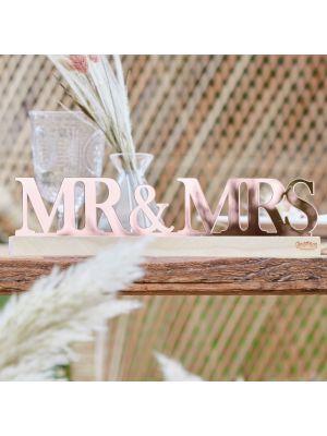 Pöytäkoriste, Mr & Mrs, Ruusukulta Akryyli