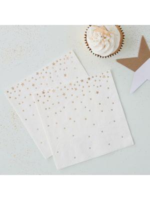 Valkoiset Servetit, Kultaiset Tähdet, 20kpl