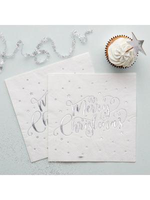 Jouluservetit - Hopeiset Merry Christmas, 20kpl