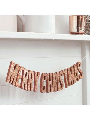 Joulukoriste Merry Christmas Banneri, Ruusukulta-Glitter