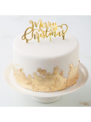 """Jouluinen kakkukoriste """"Merry Christmas"""", kultaista akryylia."""