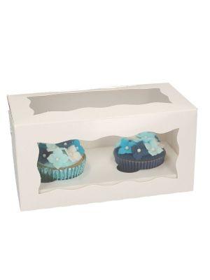 Valkoinen ikkunallinen muffinilaatikko jossa on paikkaa 4:lle muffinille, 3 laatikkoa.