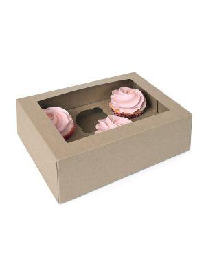 Pahvista tehty ikkunallinen muffinilaatikko jossa on paikkaa 2:lle muffineille. Pakkauksessa 3 laatikkoa.