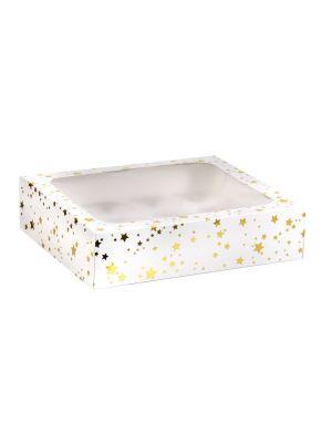 Valkoinen ikkunallinen muffinilaatikko kultaisilla tähdillä. Paikkaa 12 kpl muffinille