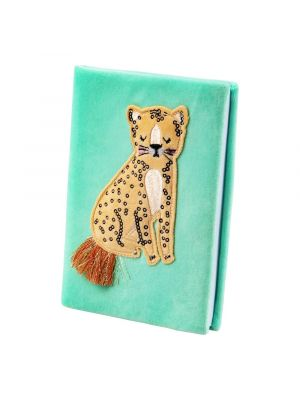 Suloinen muistikirja jossa leopardin kuva.