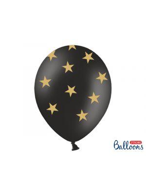 Mustat ilmapallot kultaisilla tähdillä - 30cm, 6kpl