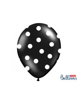 Mustat ilmapallot isoilla valkoisilla pilkuilla, 30 cm, 6 kpl.