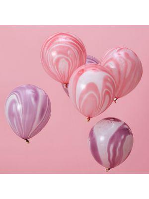 Upeat marmori-ilmapallot, vaaleanpunaiset ja violetinväriset, 10 kpl, 30 cm.