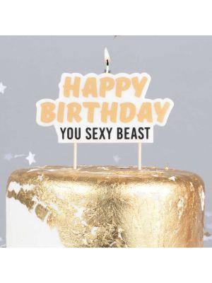 """Kakkukynttilä """"Happy Birthday You Sexy Beast""""."""