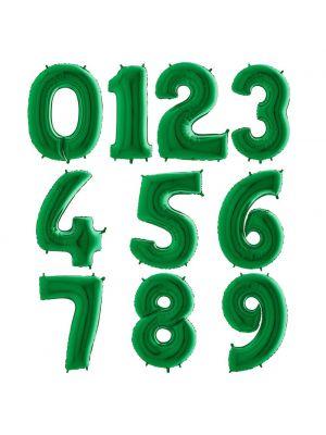 Vihreät numerofoliopallot 0-9. Valitse haluamasi numeron.