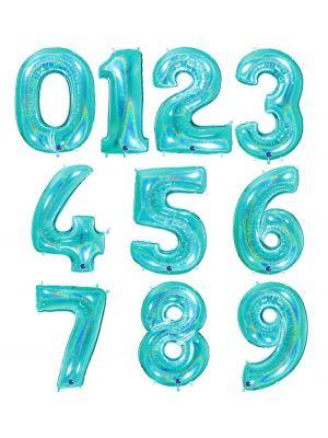 Turkoosi-hologrammi numerofoliopallot 0-9. Valitse haluamasi numeron.