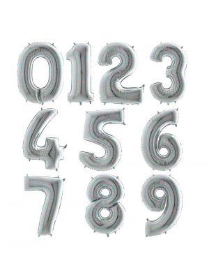 Hopeiset hologrammi numerofoliopallot 0-9. Valitse haluamasi numeron.