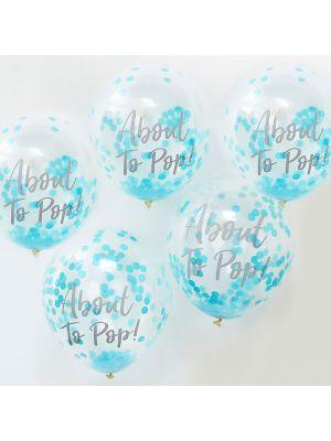 """Vaaleansiniset-konfetti ilmapallot, """"About To Pop!"""", 5 kpl."""
