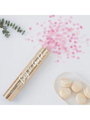 Konfettitykki, boy or girl, vaaleanpunaisia konfetteja