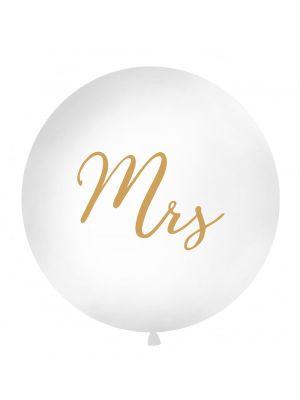 """Iso valkoinen ilmapallo kultaisella tekstillä """"Mrs""""."""