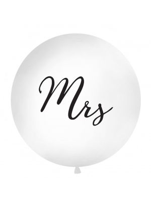"""Iso valkoinen jätti-ilmapallo mustalla tekstillä """"Mrs""""."""