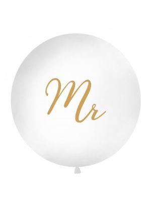 """Iso valkoinen ilmapallo kultaisella tekstillä """"Mr""""."""