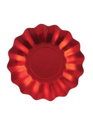 Metallinhohtoiset satiininpunaiset lautaset, 8 kpl.