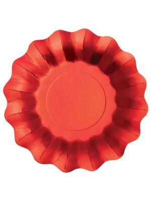 Isot metallinhohtoiset satiininpunaiset lautaset, 8 kpl.