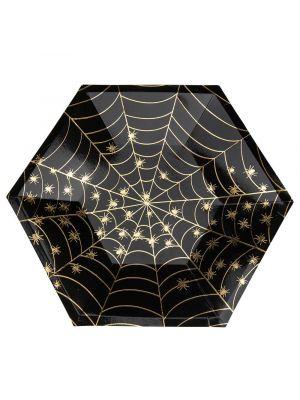 Mustat pahvilautaset, Hämähäkkiverkko, 26cm, 8kpl