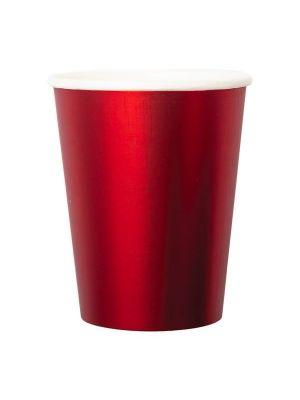 Tukevat metallinhohtoiset punaiset paperimukit, 8 kpl.