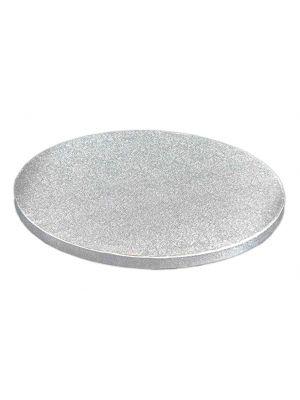 Kauniisti kimalteleva hopeinen kakkualusta.