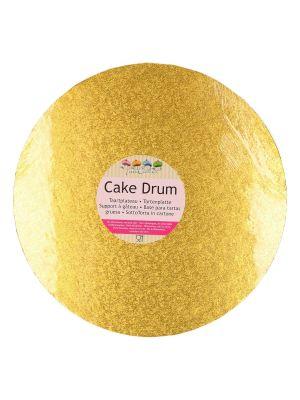 Paksu kimalteleva kultainen kakkualusta.