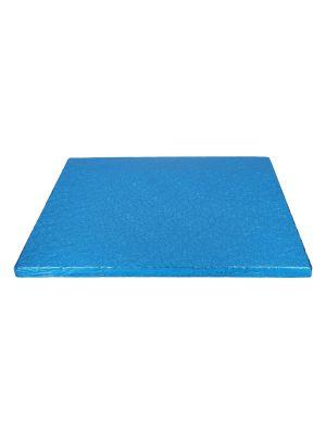 Sininen neliömuotoinen paksu kakkualusta kimalluksella, 30 cm.