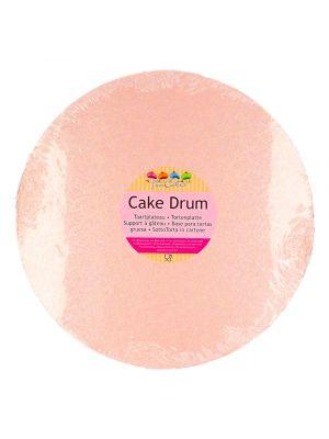 Kauniisti kimalteleva ruusukultainen kakkualusta.