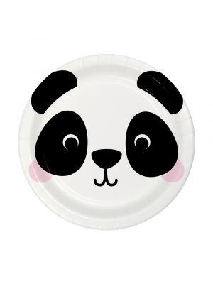 Pienet pahvilautaset, Pandan kasvot, 17 cm, 8kpl