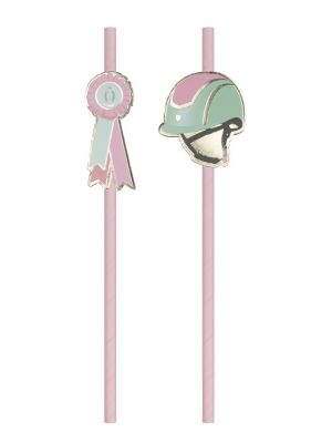 Hevosaiheiset vaaleanpunaiset paperipillit ratsastuskypärällä ja palkintoruusulla.