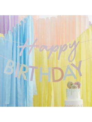 Pastellinen Happy Birthday Banneri