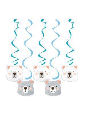 Suloiset roikkuvat koristeet Birthday Bear -juhlateemasta, 5 kpl.