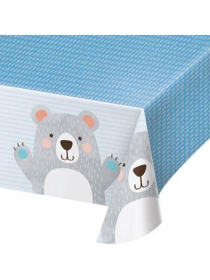 Muovinen pöytäliina Birthday Bear -juhlateemasta. Nallekarhu kuviolla.