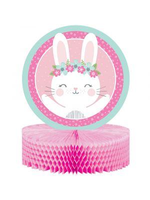 Pöytäkoriste Birthday Bunny -juhlateemasta.