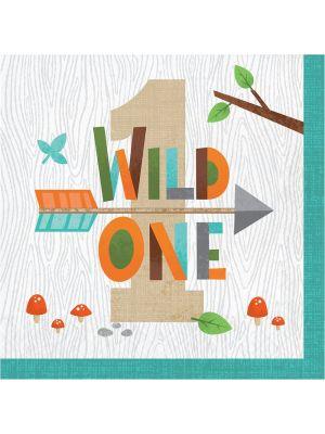 """Suloiset lautasliinat tekstillä """"Wild One"""", 16 kpl."""