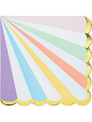 Pastelliset servetit kultafolioidulla reunalla, 16 kpl.