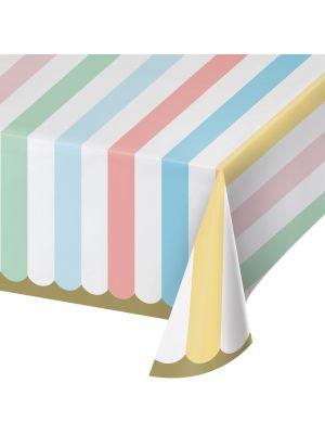 Pastelli-raidallinen Paperinen Pöytäliina, 137x259cm