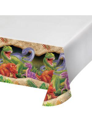 Dinosaurus muovinen pöytäliina, 137 x 274 cm.
