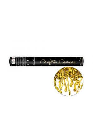 Konfettitykki, pitkät kultaiset serpentiinit.