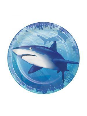 Pienet pahvilautaset, Hai, 17 cm, 8kpl