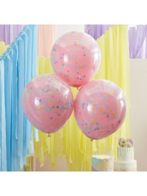 Konfetti ilmapallot, 3 kpl kaksikerroksisia lateksipalloja.