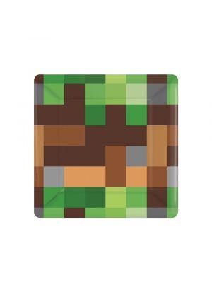 Pahvilautaset, Pikseli, 18cm, 8kpl. Minecraft-synttärijuhlat.