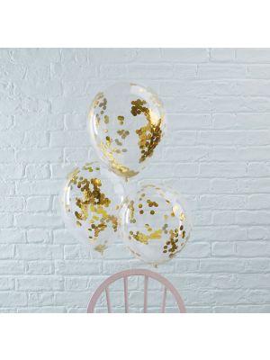 Kirkkaat ilmapallot kultaisilla konfeteilla, 5 kpl.