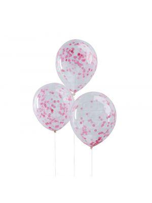Kirkkaat ilmapallot, vaaleanpunaiset konfetit, 5 kpl.